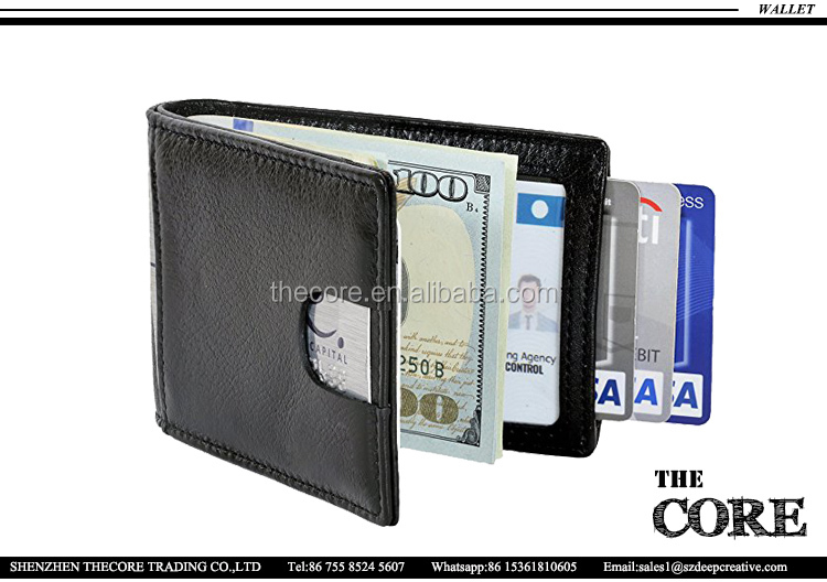 RFID Blocking Slim Genuine Leather Thin Minimalist Front Pocket Wallets for Men,Money Clip travel wallet