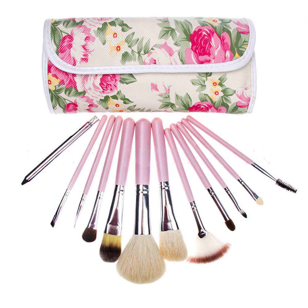 12Pieces Professional Makeup Brush Set Powder Fan Contour Concealer Brushes With Flower Bag