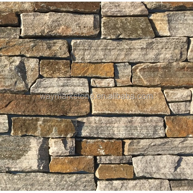 Pink Mica Schist cultural cement stone panel cladding for exterior wall