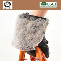 2016 AW Best Sold Rabbit Fur in The Back of Ladies Leather Gloves
