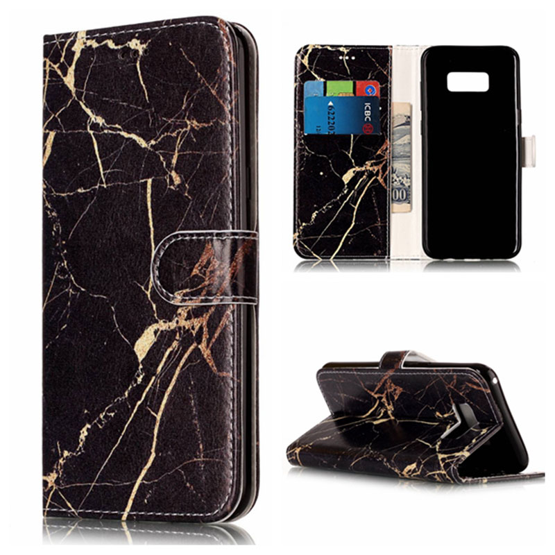 Marble style wallet leather phone case for Samsung galaxy A3 A5 2017 J3 2017 J5 J7 J510 J710 S5 S6 S6 edge S7 S7 S8 S8 plus