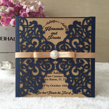 Classic carving pattern modern design flower lace decorating wedding invitations have light gold ,dark blue ,white 21 colors