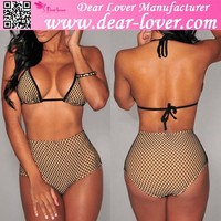 2015 High Waist Fishnet Bikini Swimwear photos sex girls latest fashion