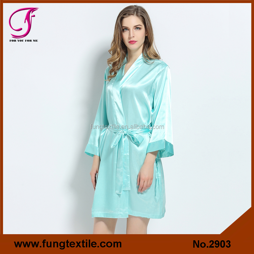 Fung 2903 New Design Uniqe Women Plain Satin Hooded Robe