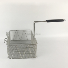 Stainless steel deep fryer basket, commercial deep fat frying basket square wire deep french frying basket