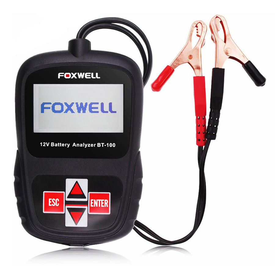 TOP Selling FOXWELL BT100 12V Car Battery Tester for Flooded, AGM, GEL Original BT 100 12 Volt Automotive Battery Analyzer