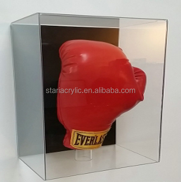 Wall Mounted Clear Acrylic Boxing Glove Display Case, Plexiglass Acrylic Glove Show Box