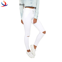 Summer Style White Hole Ripped Jeans Women Jeggings Cool Denim High Waist Pants