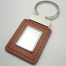 Debossed Genuine leather Keychain, high quality keychain leather, embossed Logo car brand PU key chain ring leather keychain
