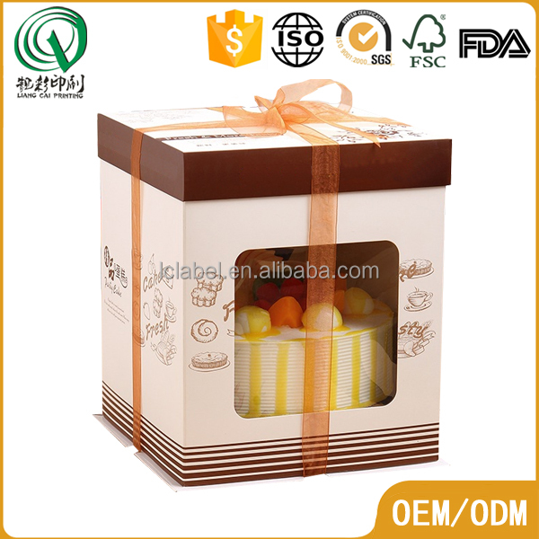 Fancy recycled square shape pvc window wedding cake boxes paper cake box with ribbon