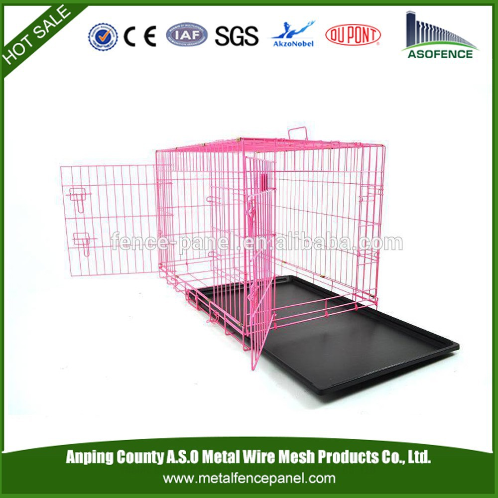 alibaba china manufacture hot sale pet house / Folding Wire Dog Cage with double door ( Factory & ISO9001 )