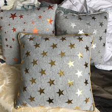 100% polyester Jersey star printed sofa cushion, home decorate pillow with gold stamping