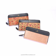 Custom muti-function woman cork wallet, Dongguan manufacture elegant waterproof cock fabric purse with zipper