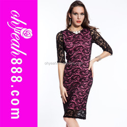 Black lace inner pink dress long sleeved midi dress