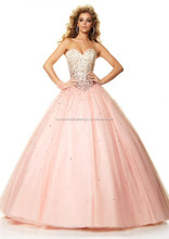 New arrival sweetheart beaded sequined long girls custom-made cheap princess 2015 pink puffy ball gown prom dress CWFapp5832