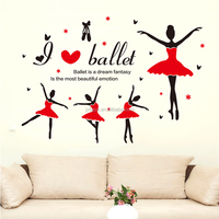 Removable Creative Cartoon Ballet Wall Stickers for Room Decor