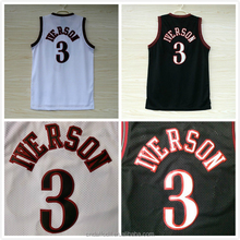Philadelphia 3 Allen Iverson Jersey Throwback Best Stitched Quality Cheap custom 76 Allen Iverson Basketball Jersey