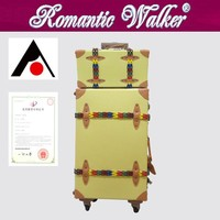 Hand made cheap price factory delivery Leather PU Classical Luggage With Quiet Wheels