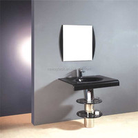 Competitive price simple design glass bowl wash basin with stand