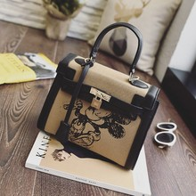 fashion handbag with key ring high class hand painted leather bags