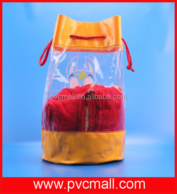 clear cheap plastic vinyl cotton fabric /polyester/nylon drawstring bag for christmas promotional gift packaging