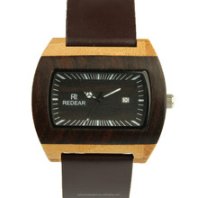 2017 men wood watch with leather strap band watch square shape