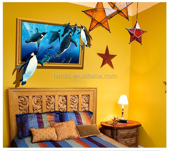 Home decoration 3D penguins window wall sticker for livingroom Decoration
