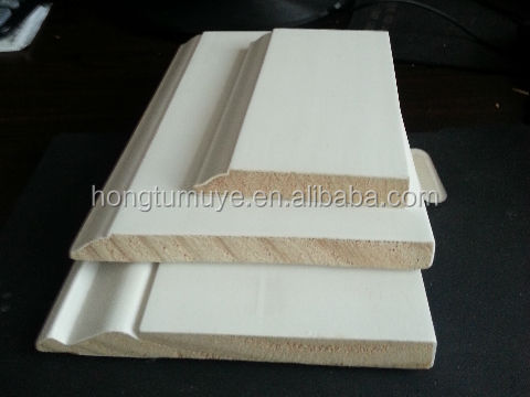 Waterproof White PU Painted Skirting Board Solid Wood or MDF Base Boards