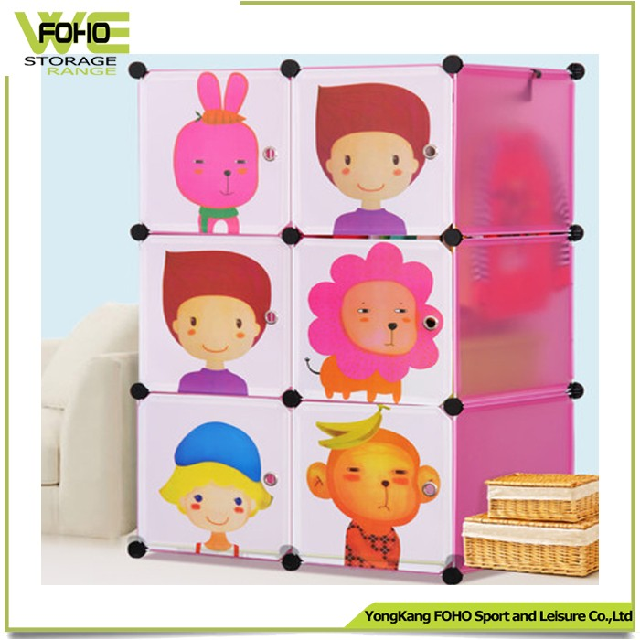 Baby plastic wardrobe closet modular storage organizer with lovely color pink,blue,green color