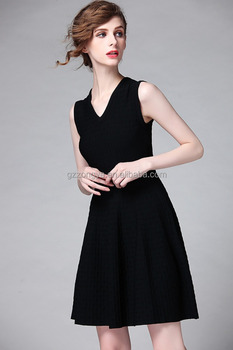 European women casual one piece bodycon slim knit V neck dress middle aged women fashion dress garment factory OEM supply