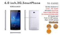 Top selling smart phone built-in 3g/gps/wifi 6 inch android phone