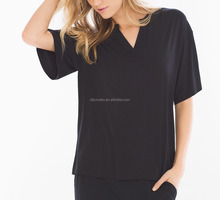 Rayon Jersey Knit Black Pullover Pajama Tops/Black Loungewear Tops