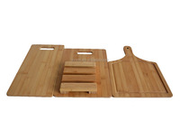 TF280/Hot sell bamboo chopping board set with 3-piece board and a holder/ Professional fruit and vegetables bamboo cutting board