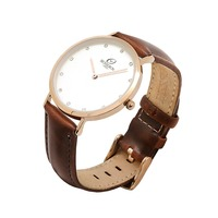 Express your love 316 stainless steel case genuine leather band imported movt vogue quartz couple watches