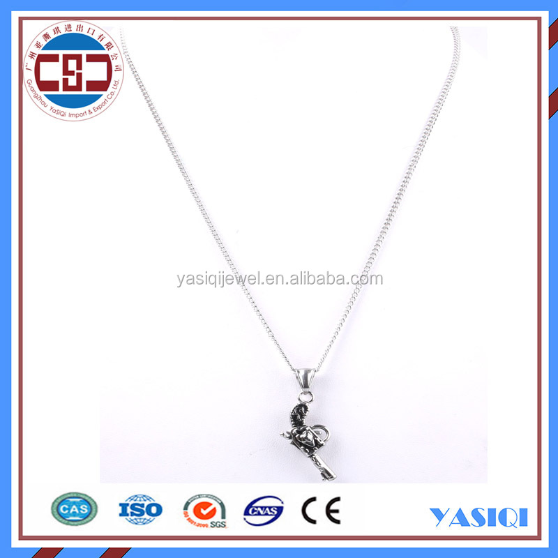 New fashion stainless steel silver chain gun pendant choker necklace