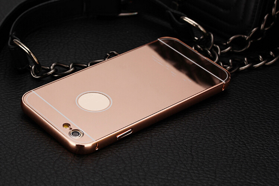 PC material phone accessories aluminum mirror back cover cell phone case for iphone for samsung
