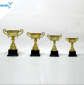 whole sale gold color metal trophy cup plastic base