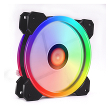 12cm Dual Ring <strong>RGB</strong> LED Cooling Fan for PC Case Cooler Cooling Fan ABS 4pin 3pin Interface Low Noise Radiator Fan