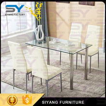 Transparent glass top dining table with metal legs CT014
