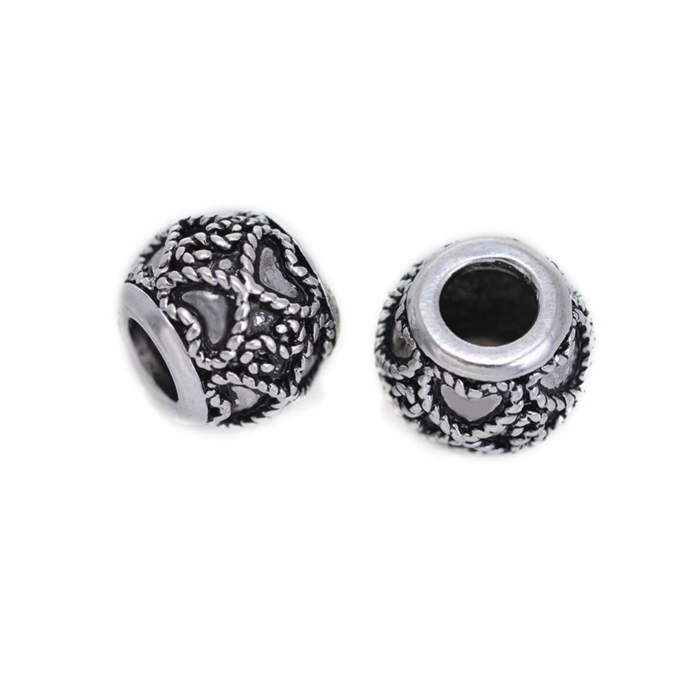 Antique Silver Heart Design Round Brass Beads Wholesale DIY Jewelry Accessories