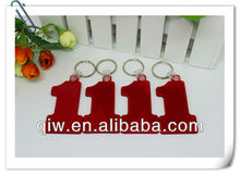 2013 Pastic soft PVC promotional number one keychain vners brand