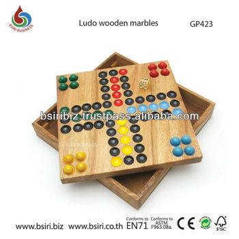 wooden board games Ludo wooden marbles