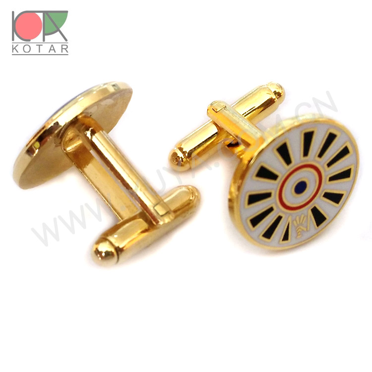 golden color round shape copper cufflink