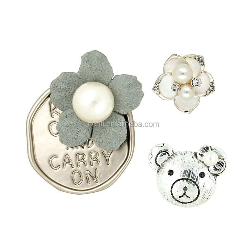 Cartoon bear and flower collar pin brooch wholesale