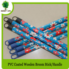 PVC coated eucalyptus wooden broom stick for broom and dustpan set 22mm diameter 120cm length