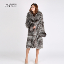 Hot Sale Newest High Quality Knitted Pure Real Silver Fox Fur Long Coat Woman Winter With Low Price With Big Collar Apparel