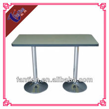 high quality wood restaurant table oblong metal base dinning table