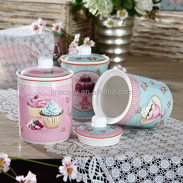 800CC Elegant Ice Cream Collection Ceramic Canister