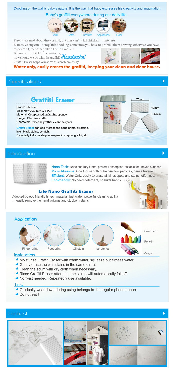 Wall Tiles Cleaning Magic Eraser Sponge For Graffiti Removal