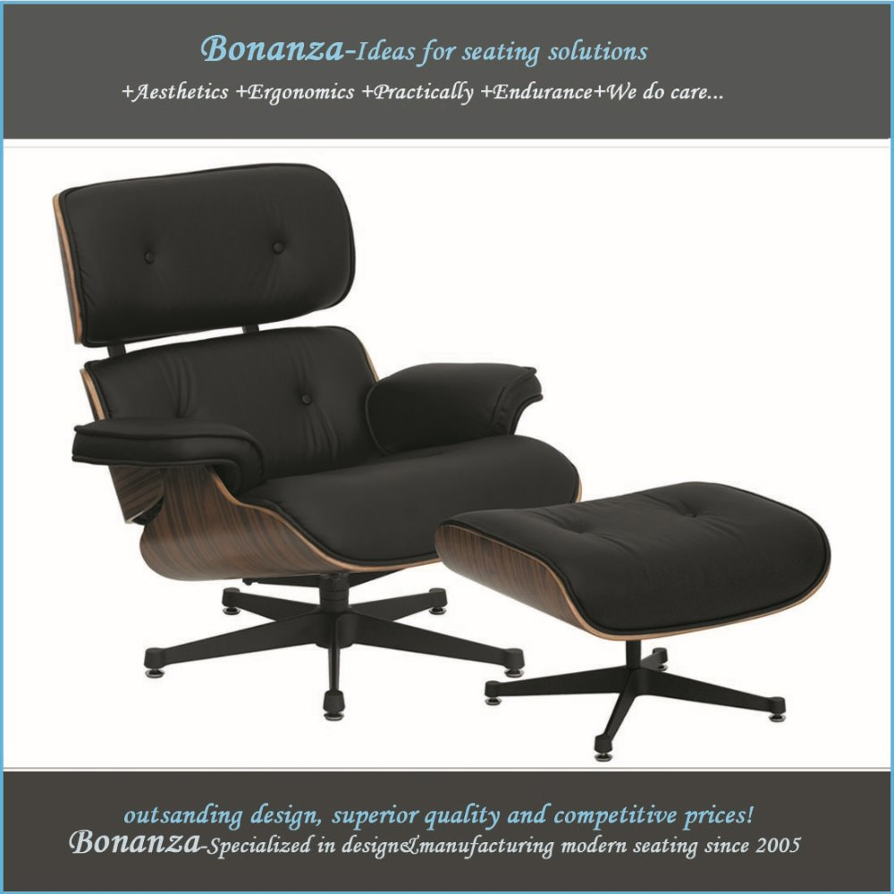 CH-001# Modern classic lounge chair and footstool in grain leather lounge chair and ottoman
